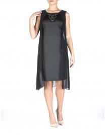 Φόρεμα σατέν με διαφάνεια