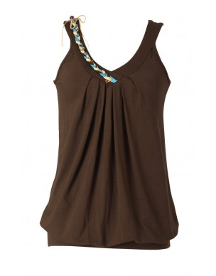 Sleeveless top with colorful braid.