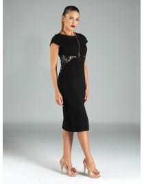 Φόρεμα pencil με δαντέλα στο πλάι και πίσω