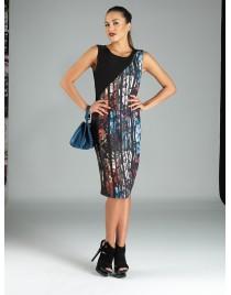 Φόρεμα με δίχρωμο με άνοιγμα στον ώμο
