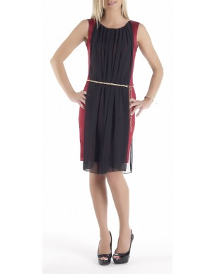 Satin dress with decorative toga and belt(Κωδ.700)