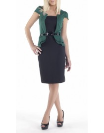 Double-coloured dress with incorporated jacket and belt(Κωδ.712)