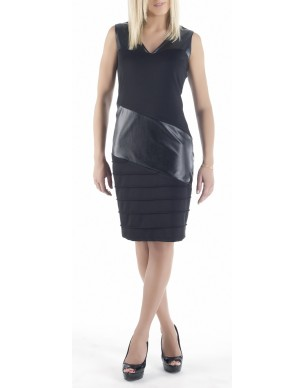 Dress with'' V'' and decorative leatherette(Κωδ.717)