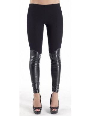 Leggings with leather