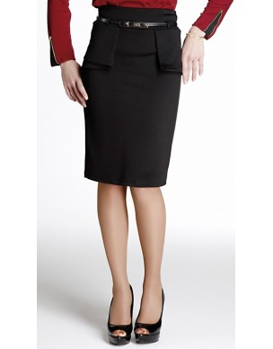 High-waisted skirt with plackets
