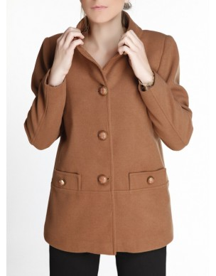 Short coat with standing collar and buttons