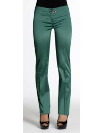 Satin trousers with strass buckle