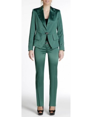 Satin jacket with plackets and strass buckle