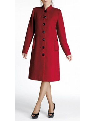 Coat with plackets and standing collar