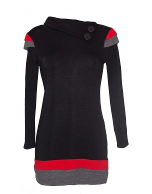 Knit shirt-dress with touch of colour on the sleeves
