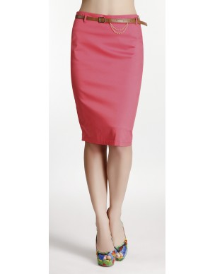 Pencil skirt with leather belt