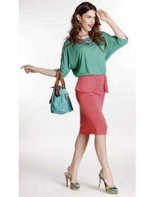 Elastic skirt with removable peplum