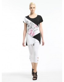 Leggings with tear at the bottom and strass