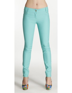 Cigarette line trousers decorated with zips