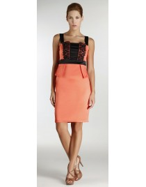 Satin dress with peploum and lace on bust