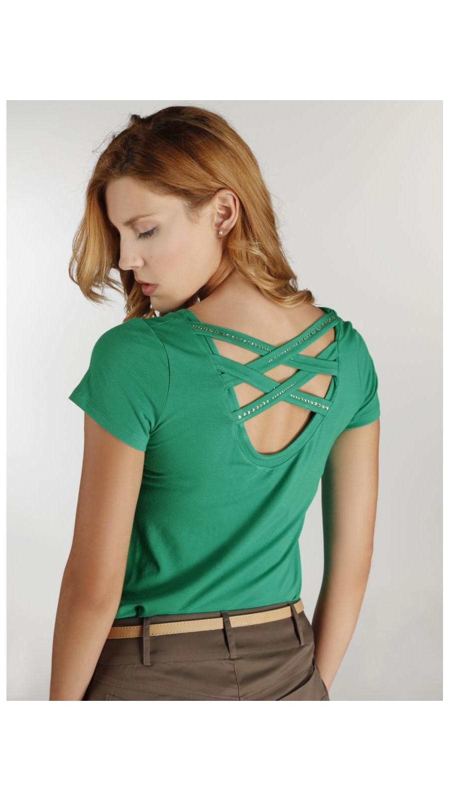 b14cdf830986 Μπλούζα στενή με χιαστή πλάτη και strass - Open Fashion