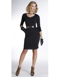 Dress with gold belt and pockets