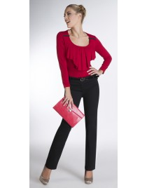 Cigarette line trousers with patent-leather belt
