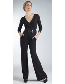 Wrap catsuit with long sleeves and belt