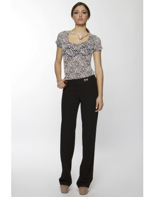 Trouser decorated metallic pockets
