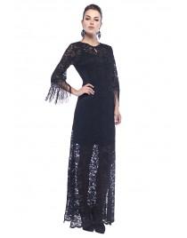 Φόρεμα maxi δαντέλα με κρόσσια στα μανίκια