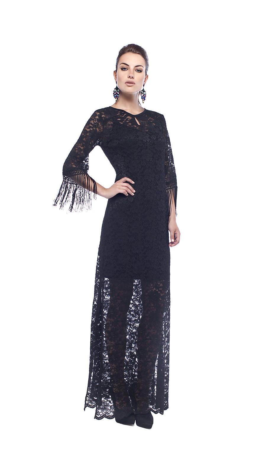 996d3de0bc6d Φόρεμα maxi δαντέλα με κρόσσια στα μανίκια - Open Fashion
