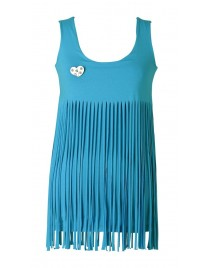 Sleeveless top with fringes.