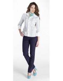 Striped shirt with plain collar